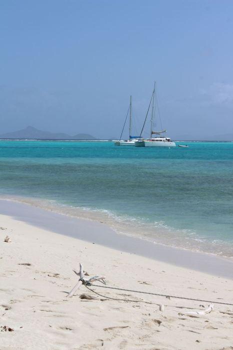 TEIVA et VENT D'AILLEURS au mouillage aux Tobago Cayes.