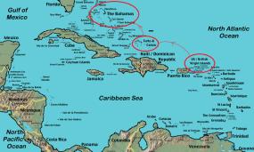 1. Turks and caicos entre B.V.I. et Bahamas.