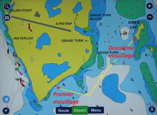 2. Nos deux mouillages aux Turks and Caicos